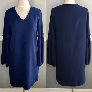 Tahari Navy Blue Pleated Bell Sleeve Shift Dress